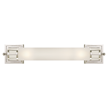 Long Sconce in Polished Nickel with Frosted Glass
