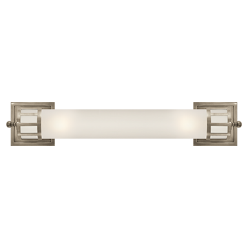 Long Sconce in Antique Nickel with Frosted Glass