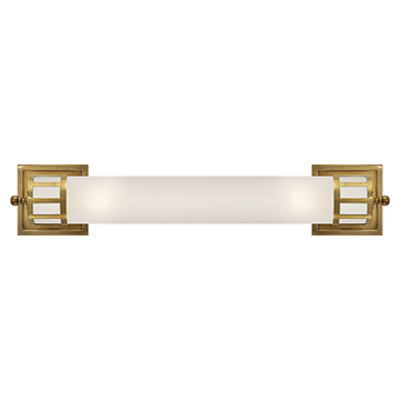 Long Sconce in Hand-Rubbed Antique Brass with Frosted Glass, Lighting, Laura of Pembroke