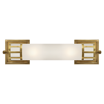 Medium Sconce in Hand-Rubbed Antique Brass with Frosted Glass
