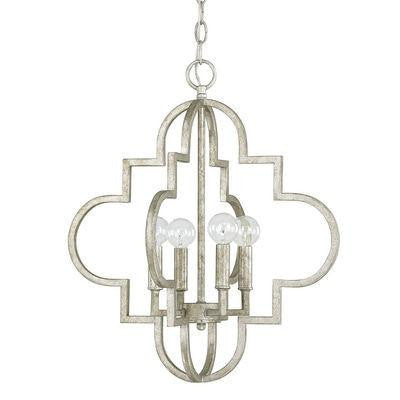 4 Light Pendant in Antique Silver
