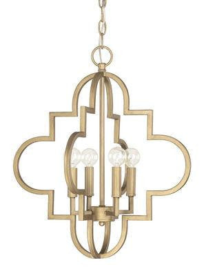 4 Light Pendant in Brushed Gold