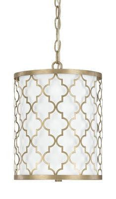 2 Light Pendant Fixture in Brushed Gold
