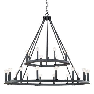 24 Light Chandelier in Black Iron