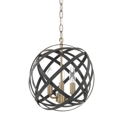 3 Light Pendant in Aged Brass and Black, Lighting, Laura of Pembroke