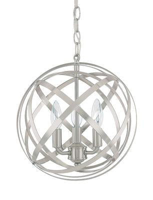 3 Light Pendant in Brushed Nickel, Lighting, Laura of Pembroke
