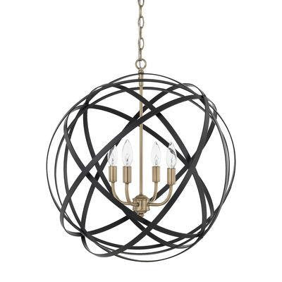 4 Light Pendant in Aged Brass and Black
