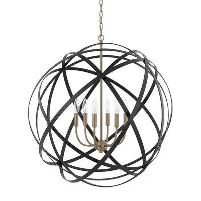 6 Light Pendant in Aged Brass and Black