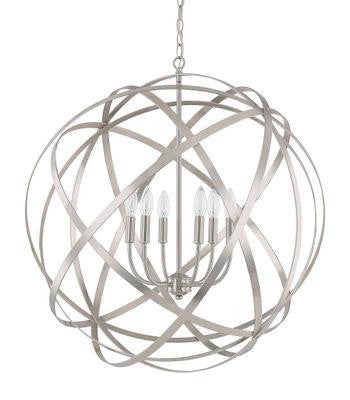 6 Light Pendant in Brushed Nickel