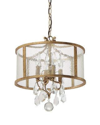 4 Light Pendant with clear crystals included in Antique Gold