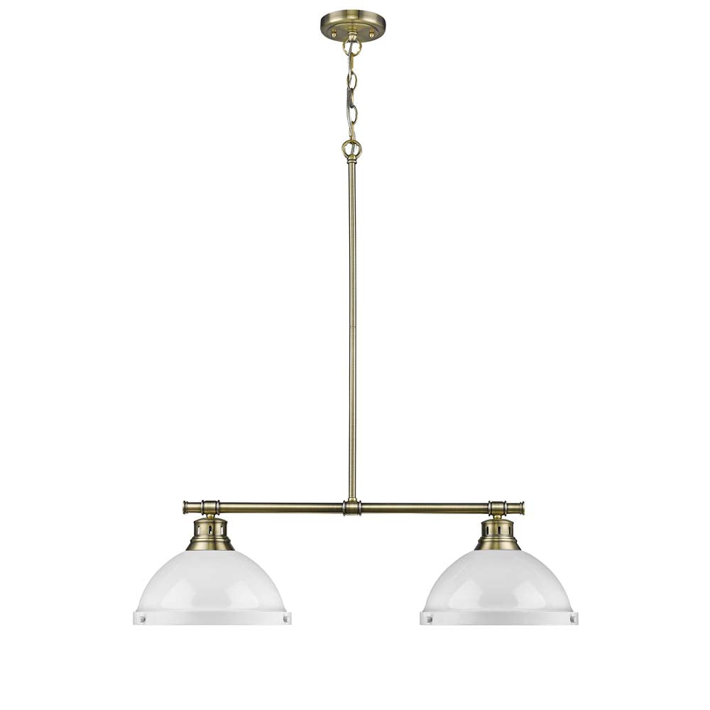 2 Light Linear Pendant in Aged Brass with White Shades