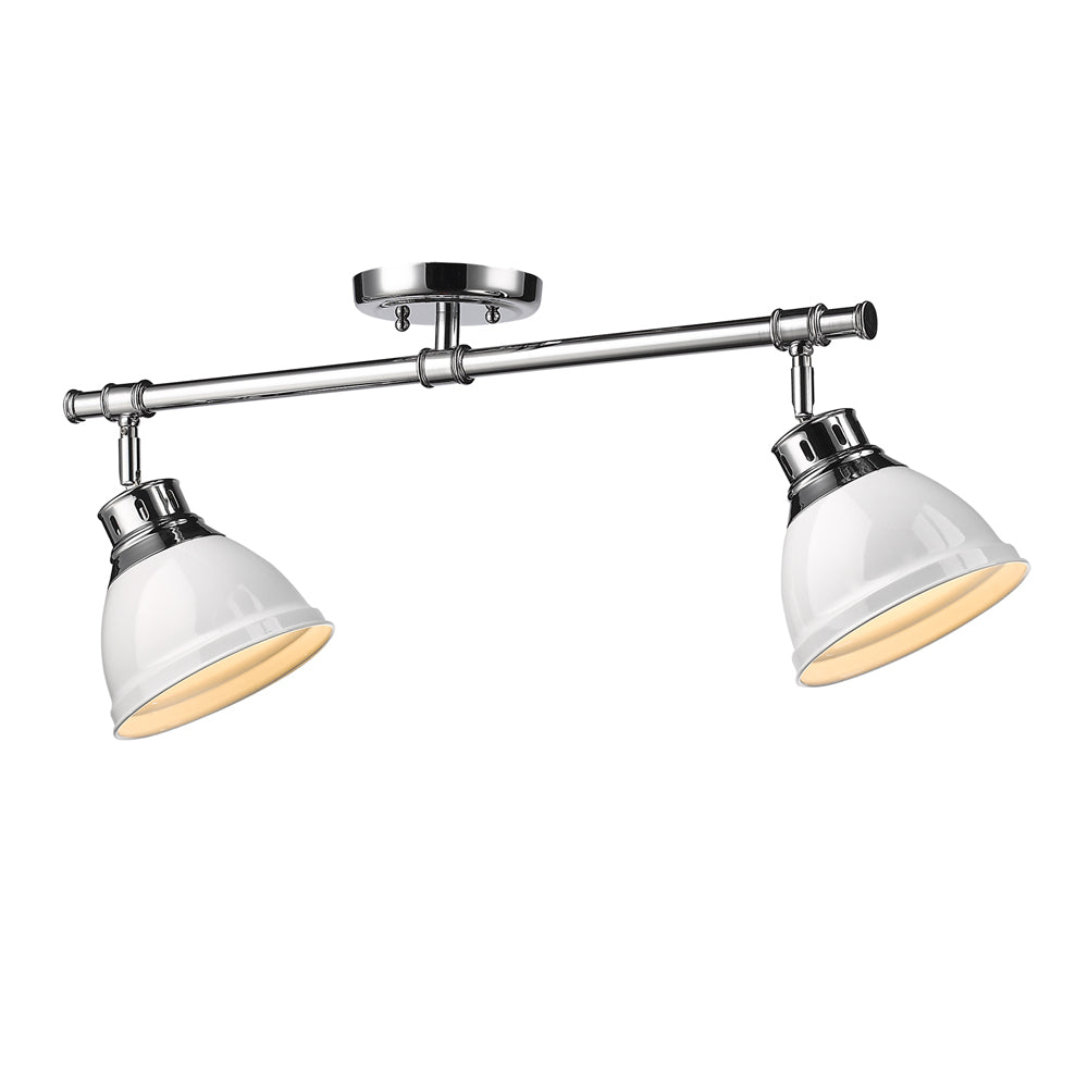 2 Light Semi-Flush in Chrome with White Shades