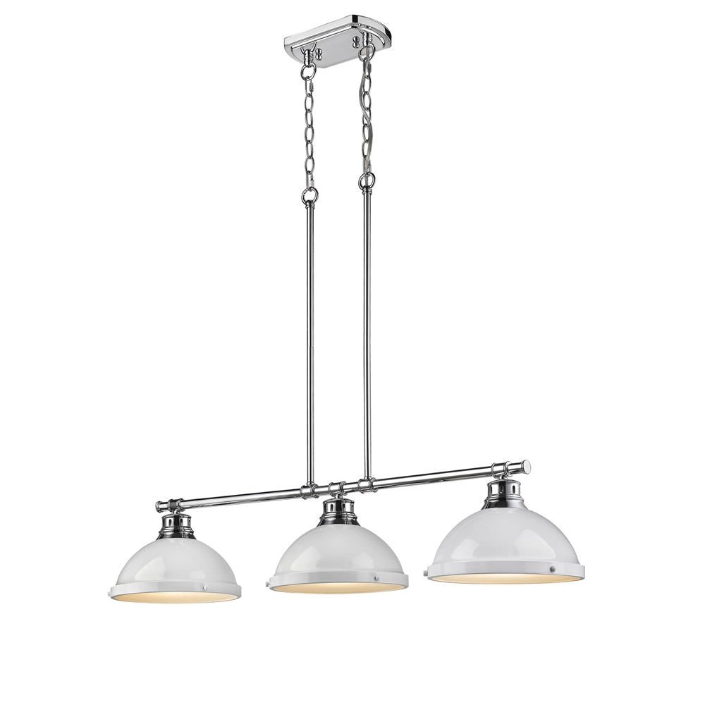 3 Light Linear Pendant in Chrome with White Shades