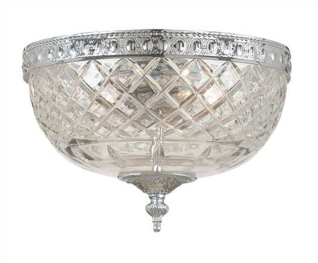 Medium 2 Light Chrome Lead Crystal Ceiling Mount, Lighting, Laura of Pembroke