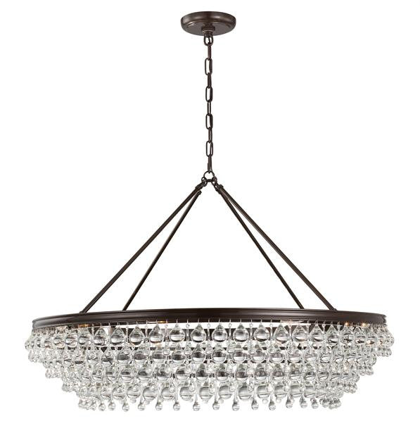 Crystal Teardrop 8 Light Bronze Chandelier