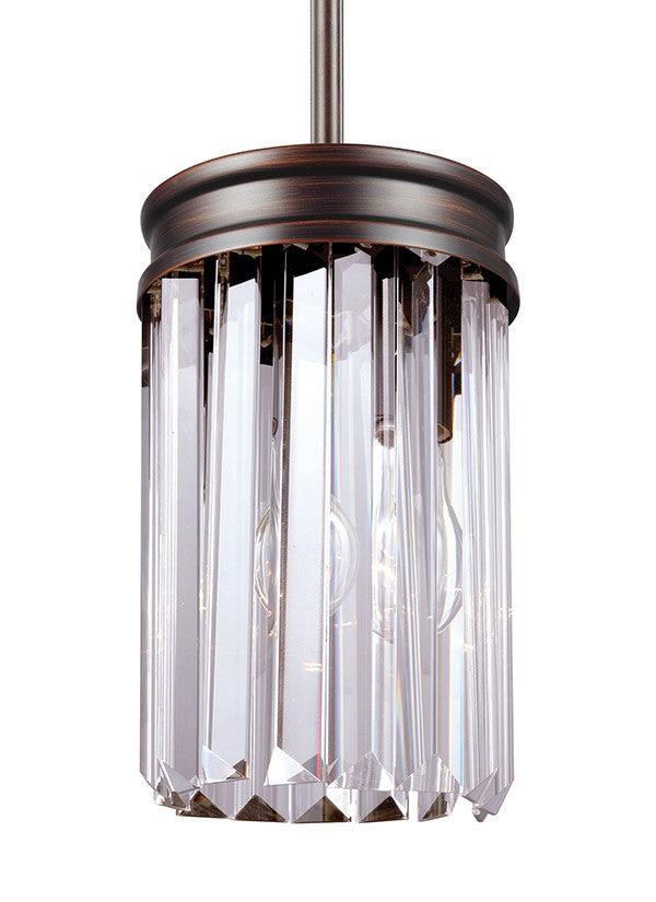 Burnt Sienna Linear Glass Crystal Mini Pendant, Lighting, Laura of Pembroke