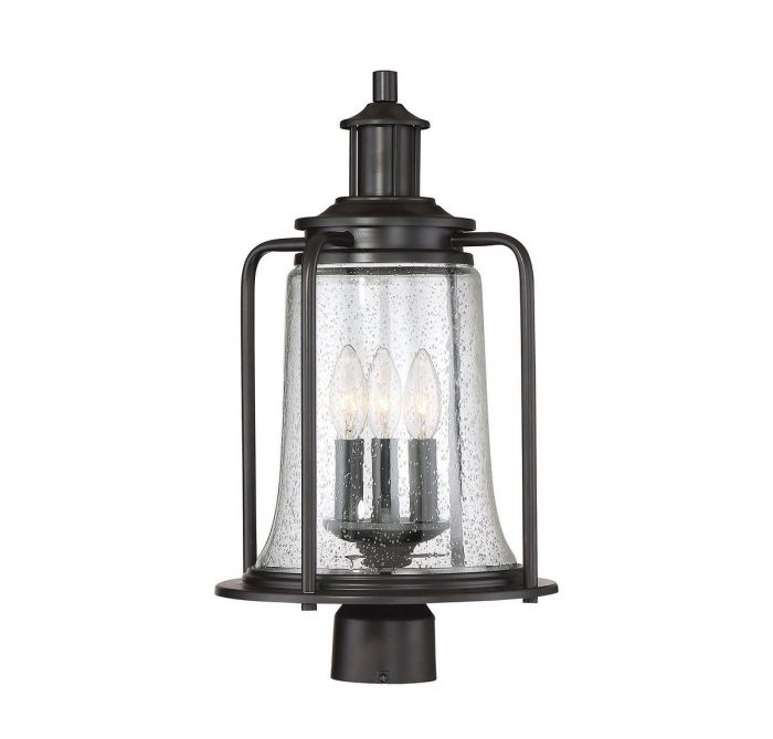 Tacoma English Bronze 3 Light Outdoor Post Lantern
