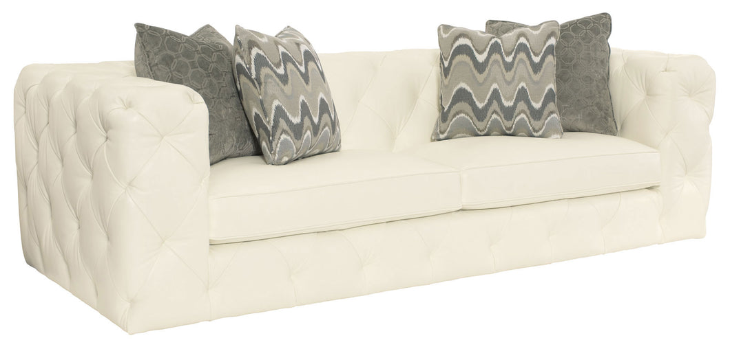 White Leather Tufted Sofa, Home Furnishings, Laura of Pembroke