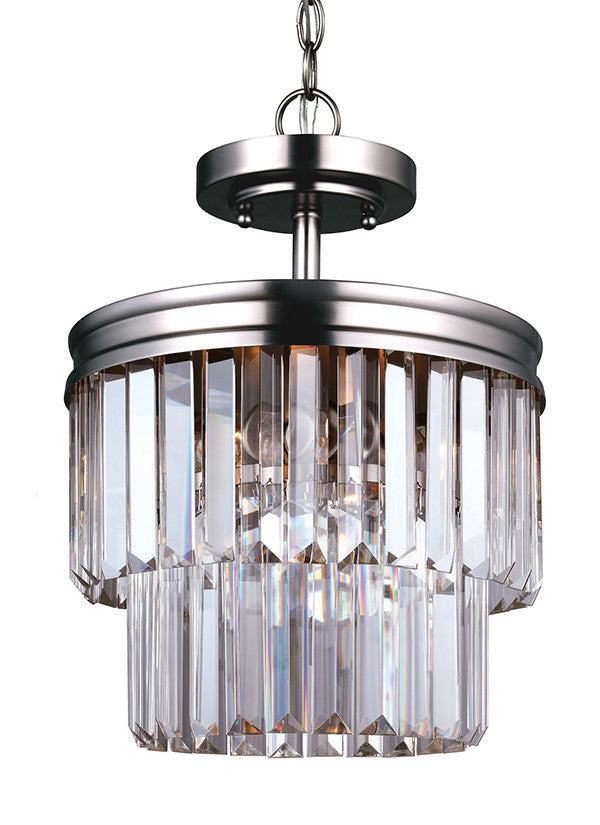 Antique Brushed Nickel Linear Glass Crystal Semi-Flush Convertible, Lighting, Laura of Pembroke