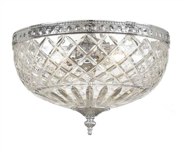 Large 3 Light Chrome Lead Crystal Ceiling Mount, Lighting, Laura of Pembroke