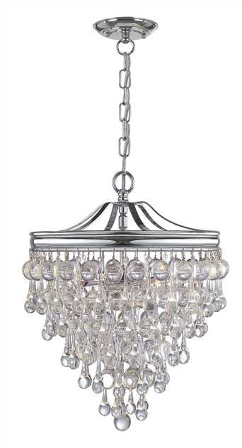 Crystal Teardrop 3 Light Chrome Pendant