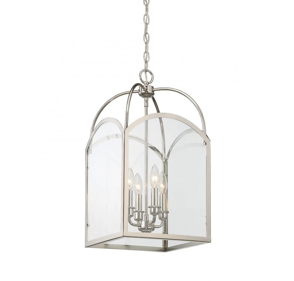 Polished Nickel 4 Light Lantern, Lighting, Laura of Pembroke