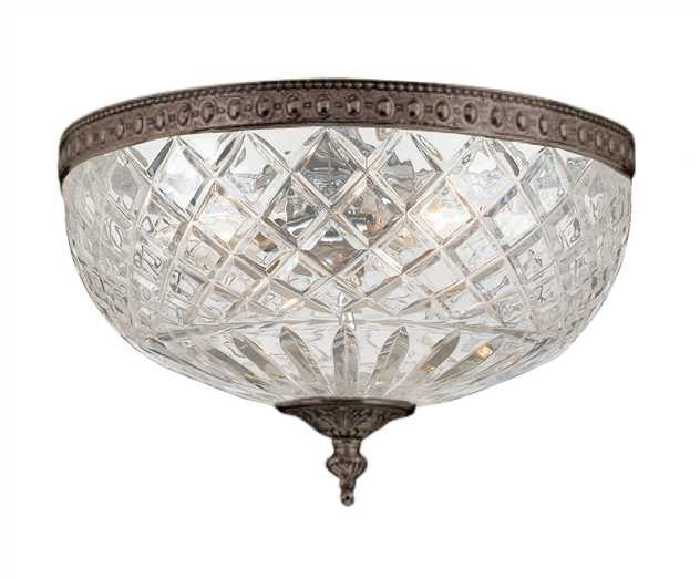 Large 3 Light Bronze Lead Crystal Ceiling Mount