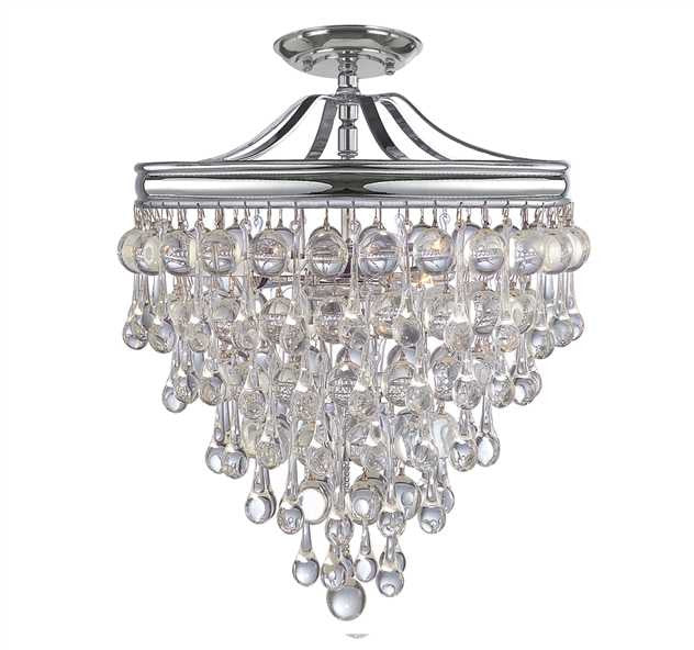 Crystal Teardrop 3 Light Chrome Semi-Flush