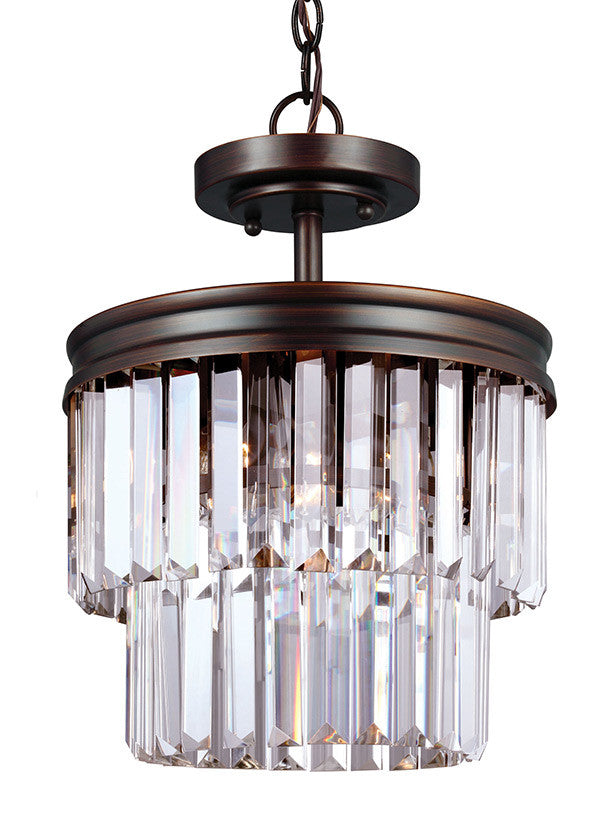 Burnt Sienna Linear Glass Crystal Semi-Flush Convertible