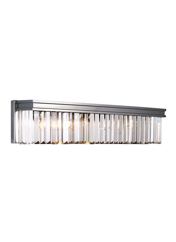 Antique Brushed Nickel Linear Glass Crystal 4 Light Wall/Bath