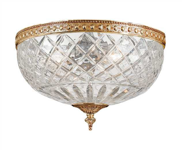 Large 3 Light Brass Lead Crystal Ceiling Mount, Lighting, Laura of Pembroke