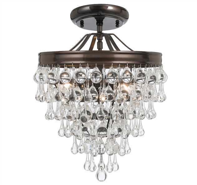 Crystal Teardrop 3 Light Bronze Semi-Flush, Lighting, Laura of Pembroke