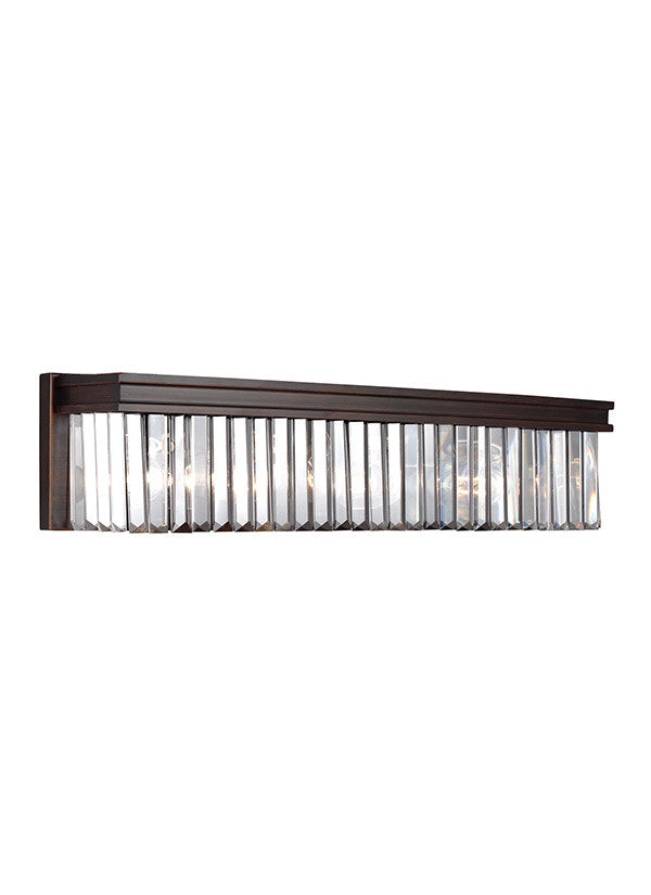 Burnt Sienna Linear Glass Crystal 4 Light Wall/Bath