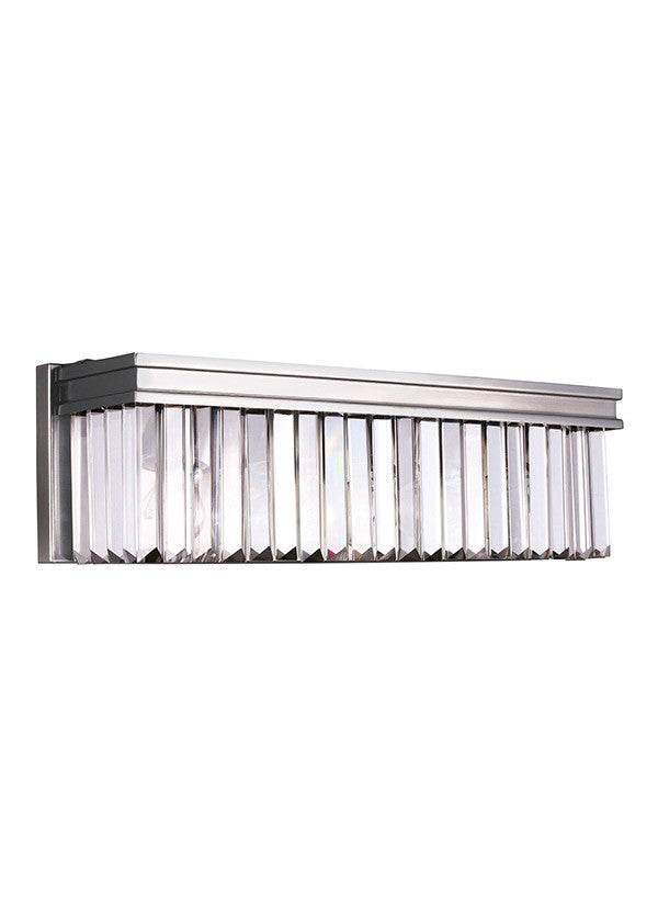 Antique Brushed Nickel Linear Glass Crystal 3 Light Wall/Bath, Lighting, Laura of Pembroke