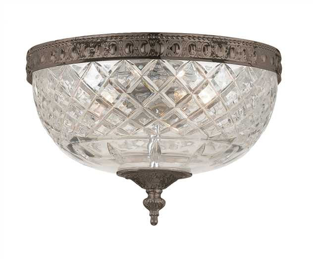 Small 2 Light Bronze Lead Crystal Ceiling Mount, Lighting, Laura of Pembroke