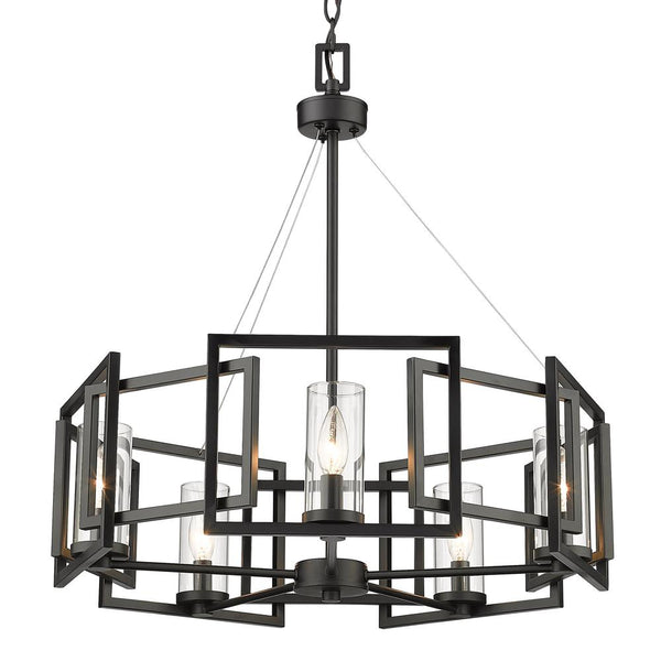 5 Light Chandelier-Matte Black