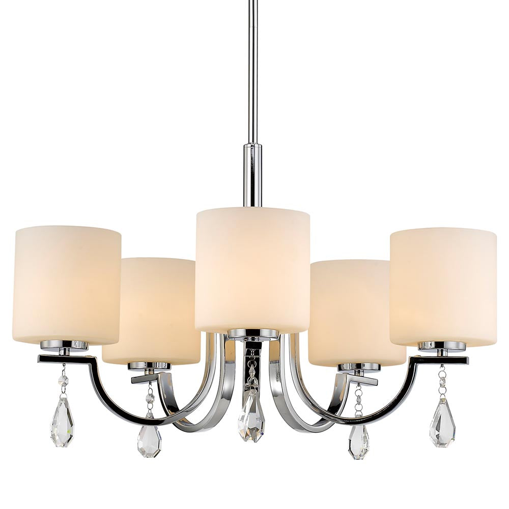 Evette 5 Light Chandelier in Chrome with Opal Glass, Lighting, Laura of Pembroke