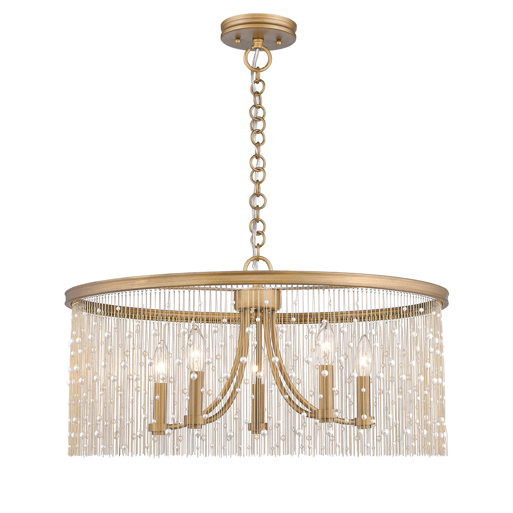 Marilyn PRL 5 Light Chandelier in Peruvian Gold with Pearl Strands, Lighting, Laura of Pembroke