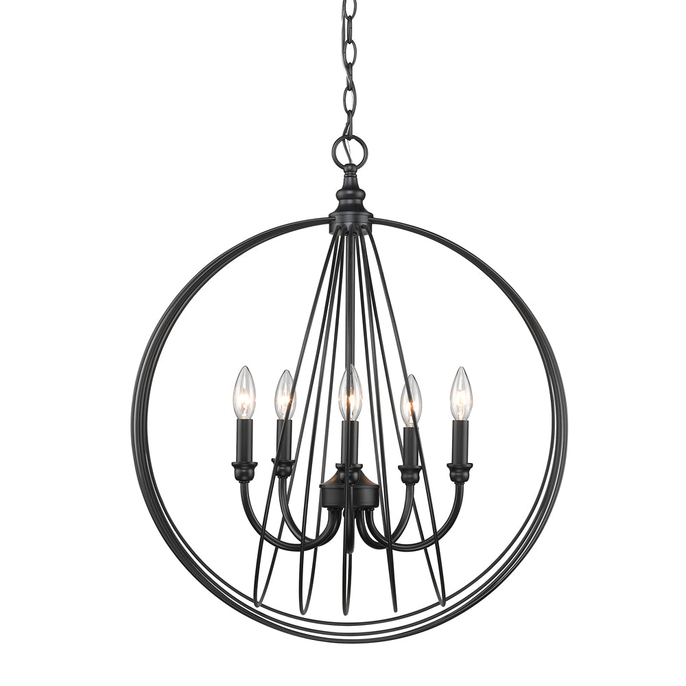 Quinn 5 Light Pendant in Black, Lighting, Laura of Pembroke