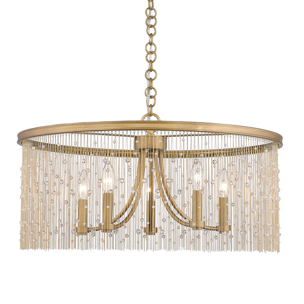 Marilyn CRY 5 Light Chandelier in Peruvian Gold with Crystal Strands