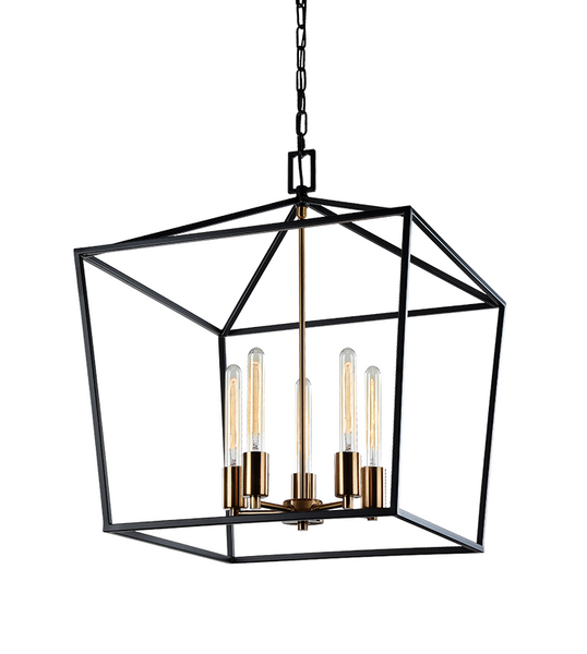 Rusty Black + Aged Gold Brass 5 Light Pendant