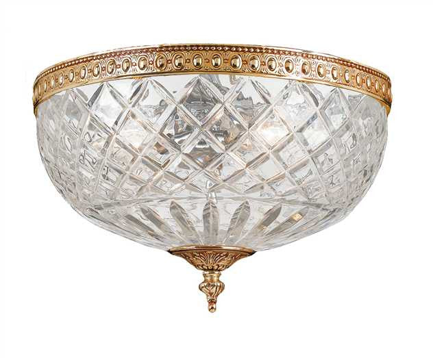 Small 2 Light Brass Lead Crystal Ceiling Mount, Lighting, Laura of Pembroke