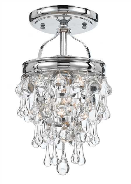 Crystal Teardrop 1 Light Chrome Semi-Flush, Lighting, Laura of Pembroke
