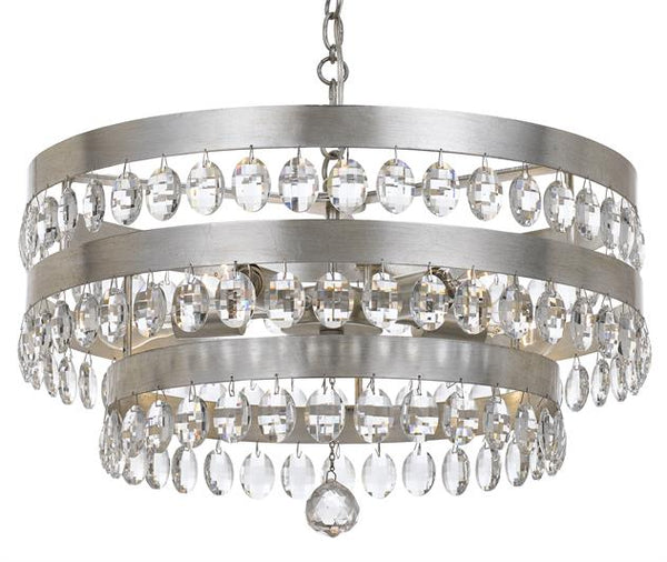 5 Light Antique Silver Chandelier with Crystals