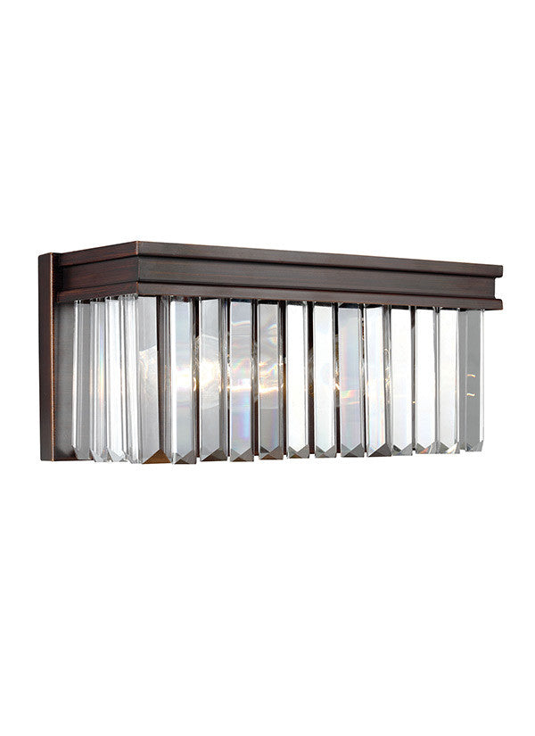 Burnt Sienna Linear Glass Crystal 2 Light Wall/Bath