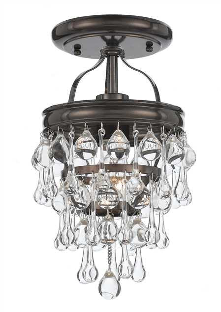 Crystal Teardrop 1 Light Bronze Semi-Flush, Lighting, Laura of Pembroke