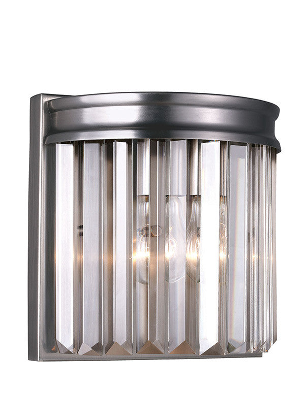 Antique Brushed Nickel Linear Glass Crystal 1 Light Wall Sconce, Lighting, Laura of Pembroke