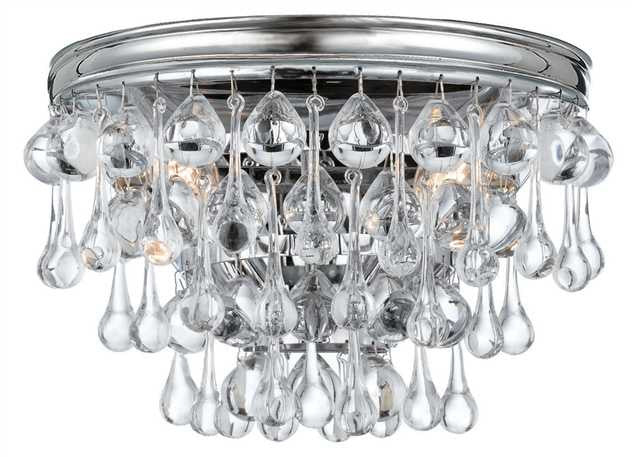 Crystal Teardrop 2 Light Chrome Sconce, Lighting, Laura of Pembroke
