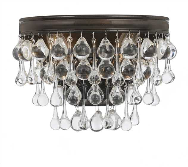 Crystal Teardrop 2 Light Bronze Sconce, Lighting, Laura of Pembroke