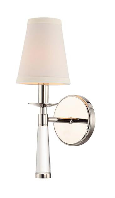 Polished Nickel 1 Light Sconce with Shade, Lighting, Laura of Pembroke